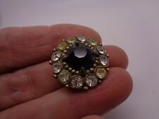VINTAGE DAISY FLOWER RHINESTONE BROOCH WHITE & BLACK GLASS STONE