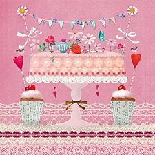 """Mila Marquis 20 Servietten""""Lovely Cake""""Torte Cupcake Hochzeit Geburtstag *33x33"""