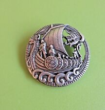 NEW VIKING Longboat dragon head saxon ship pewter alloy brooch cloak pin