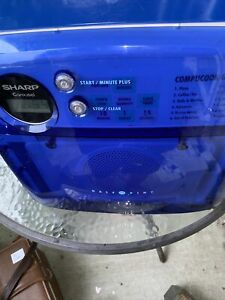 Retro Sharp Carousel Half Pint Microwave Model R-120DB Blue Dorm Room Compact