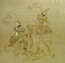 Antique/Vintage Art Deco Pierrot Man & Woman Fairies Painting Gilt Gold on Silk