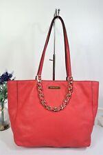 "MICHAEL KORS ""Harper"" Tote Shoulder Bag Large Watermelon Coral Red Leather"