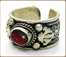 Half Inch Wide Thick Adjustable Tibetan Filigree Garnet Carved Dorje Amulet Ring