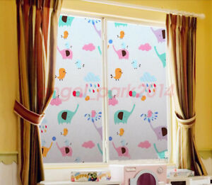 Kid's Room Animal Theme Static Cling Cover Home Decoration Window Glass Film