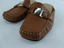 Antonio Melani Caramel Colored Leather Wedge Slides Mules Sandals 8.5M