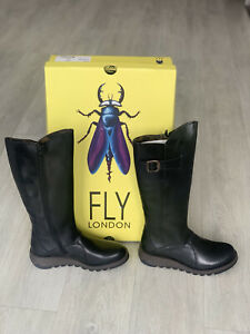 🆕Fly London Mol 2 Black Rug Leather High Boots BRAND NEW WITH BOX U.K. 9