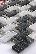 Mosaico de Cristal Azulejos Mosaikglas Plata Negro Nuevo