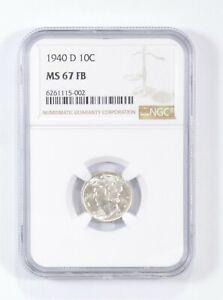 MS67 FB 1940-D - Mercury Silver Dime - NGC Graded *690