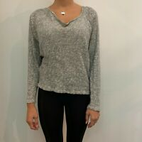C&C California Top Gray Knit Shirt Long Sleeve Womens Knit Top Stretch  Size S