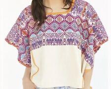Proud Mary Free People Woven Poncho Blouse Bohemian Boho Shirt One Size