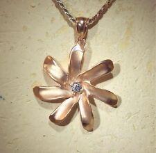27MM 14K ROSE GOLD HAWAIIAN KIELE TAHITIAN TIARE GARDENIA FLOWER CZ PENDANT #H