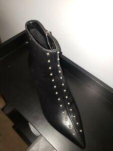 "SEXY Nine West ""Zyrannia""  Women US 12 M Black Leather Kitten heel Booties"