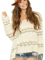 Free People Linus Stripe Pullover Sweater M Chunky Knit Asymmetric Hem Ivory