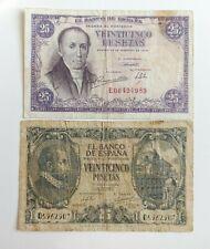 Lote 2 Billetes España 25 Pesetas 1946 y 1940, Conservación MBC y BC