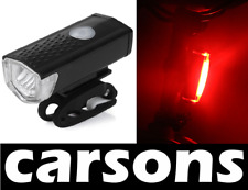 ront & rear red tail cob led USB rechargeable bike light lights set kit CARSONS