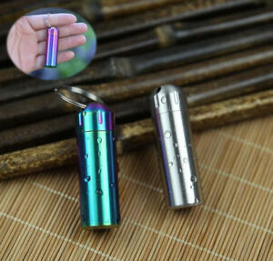 Waterproof Stainless Steel Keychain EDC Medicine Pill Case Capsule Survival Box