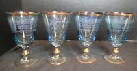 "Blue Etched  Greek Key & Criss Cross 4 Gold Trim Ice Tea Goblets 6"" Tall"