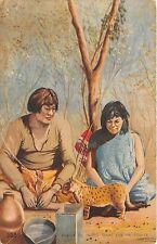B86257 pareja de indios tobas con un pumita leopard  types folklore  argentina