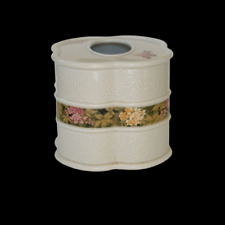 Ceramic Tissue Box Holder Cover Etched Floral Center Band