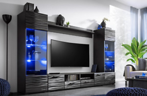 MONICA - WALL UNIT, UNIQUE STYLE IN BLACK WITH LED LIGHTS, FAST DELIVERY