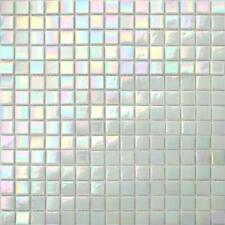 1 SQ M Iridescent White Vitreous Glass Mosaic Tiles Bathroom Shower 0131