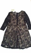 FOREVER 21 LADIES BLACK/NUDE FLORAL LACE DRESS KNEE LENGTH UK 20/48 BNWT RRP £23