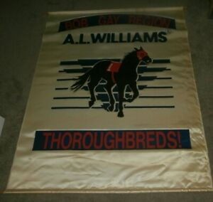 Vintage Horse Racing Thoroughbreds Sign Banner Bob Gay Region A L Williams