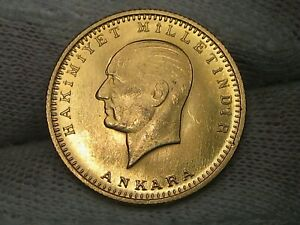 1923/43 GOLD 100 KURUSH AGW .2127 troy oz. TURKEY.  Scant Mintage 56k.  #18