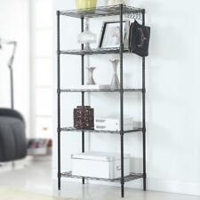 5 Tier Assembled Wire Shelving Rack Adjustable Shelf Storage Unit Bookshelf