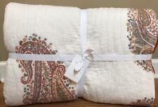 NEW Pottery Barn Deya Block Print FULL QUEEN Quilt WARM ORANGE