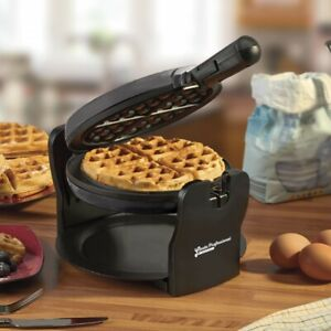 Cooks Professional Belgian Waffle Maker Round Rotary Iron Rotating Quad Machine