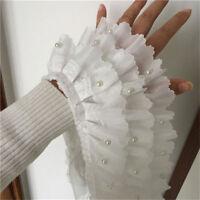 1Yard Chiffon Ruffle Lace Trim Beaded 3Layer Pleated Ribbon Sewing 4.33'' Width