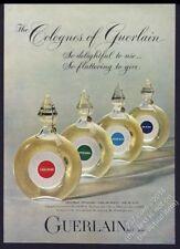1962 Guerlain Shalimar Mitsouko Bleue Nuit cologne bottle photo vintage print ad