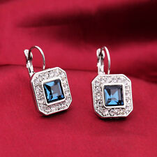 Square CZ Crystal Pave Drop Studs Earrings Silver Bridal Wedding Bling Jewelry