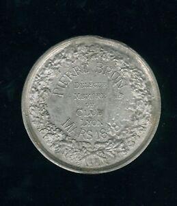 Lyon Medal Pewter Grand Module 68mm P Brown Member Of Club Of Lyon Mars 1848