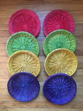 Lot of eight (8) vintage wicker rattan basket picnic paper plate holders