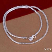 Großhandel 925 Sterling Silber Halskette 5 teile / los 1mm Schlangenkette Hot KS
