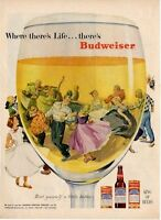 1953 Budweiser PRINT AD Anheuser Busch Beer Barn / Square Dance Fun Deco Vintage