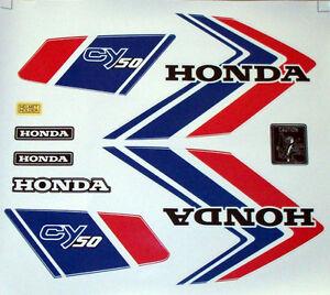 Aufkleber Set Emblem Label Mark Honda CY 50 Dekor Weiß Tank Seitendeckel