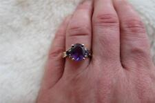 9CT 375 Yellow Gold Oval Amethyst & Diamond Trilogy Ring Size O & 1/2
