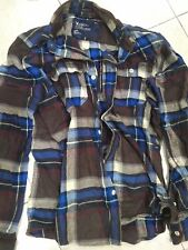 Used American Eagle Men's Checker Gray Blue Casual Button Shirt size S