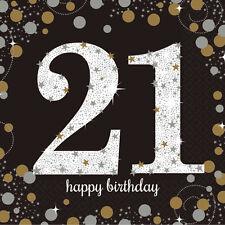16X Negro 21 Años Servilletas Oro Plata 21st Cumpleaños Vajilla