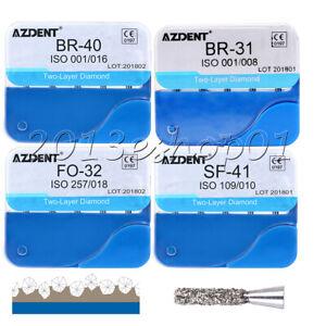 AZDENT Dental Diamond Bur Two Layer diamond for High Speed Handpiece FG Burs
