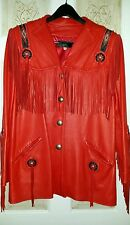 Women's Gorgeous Red Leather Western Jacket Handmade Beading, Fringe, Authentic
