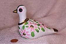Bird Ceramic Figurine Vintage Pink green white and gold ornament