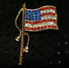 Vintage Pin Brooch US Flag Rhinestones United States Red White Blue Gold Tone