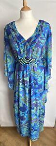 Per Una Maxi Kaftan Dress Size 14 R Blue Green & Purple Batwing Lined Beaded