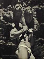 1990s Vintage BRUCE WEBER Handsome Male Semi Nude With Dog Photo Gravure 11X14