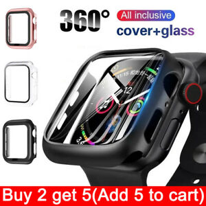 Tempered Glass Screen Protector Case Cover For iWatch Apple Watch 6 5 4 SE 40 44