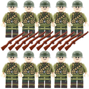 WW2 Army Military US Soldiers + Weapons Mini Figure American Toy Fits with lego